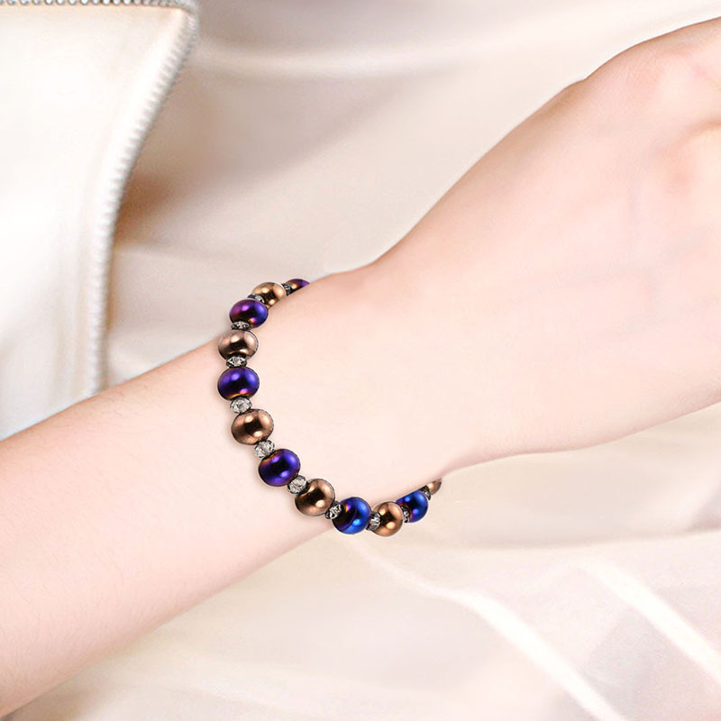 NJ Simple Nature Therapy Lodestone Beaded Bracelet For Woman Man Magnet Bangles Fashion Gift Stone Accessories Jewelry