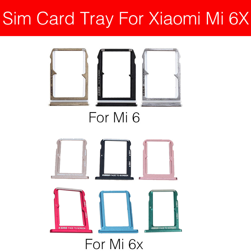 SIM Card Tray Holder For Xiaomi MI 6 6X MI6 Mi6X Sim Reader Card Slot Socket Adapters Cell Phone Replacement Repair Parts