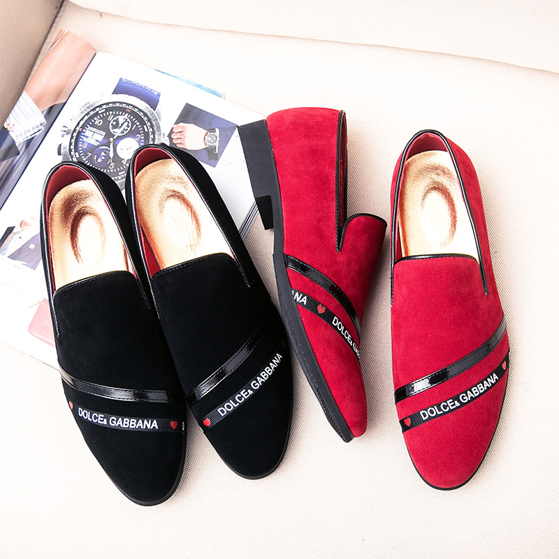 European Men Loafers Wedding Shoes Classic Business Club Shoes   Suede     Leather   Shoes For Men Slip On Flats Casual Shoes Red Black