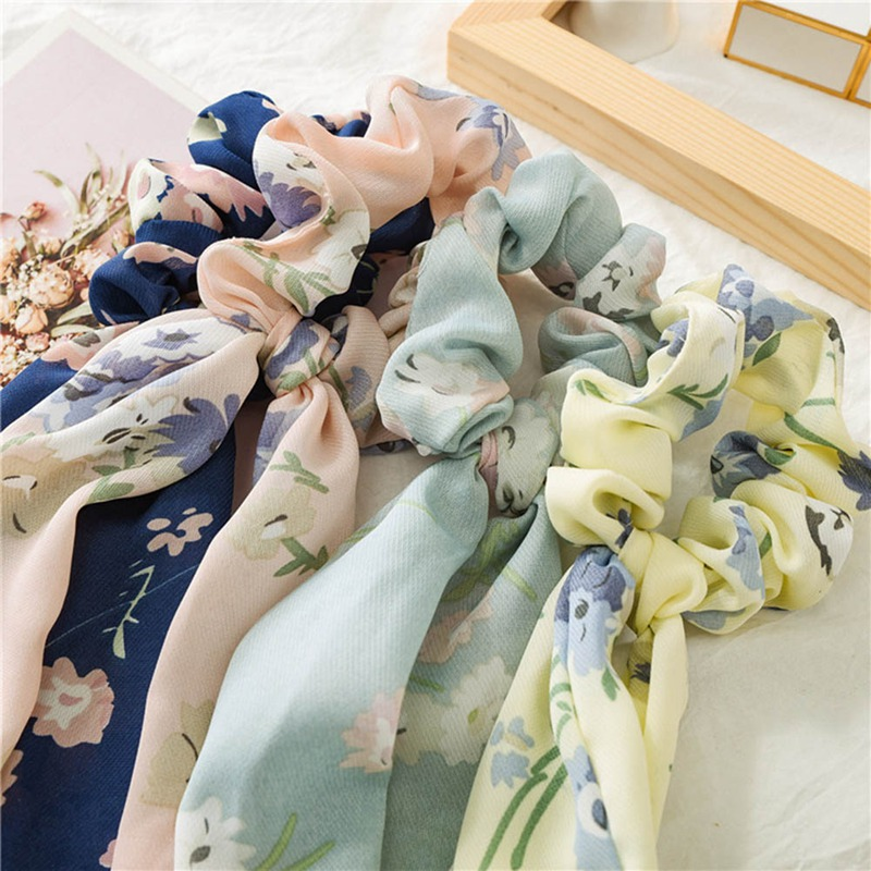 Floral Print Chiffon Women Hair Scarf Elastic Bohemian Hairband Bow Hair Rubber Ropes Girls Hair Ties Accessories