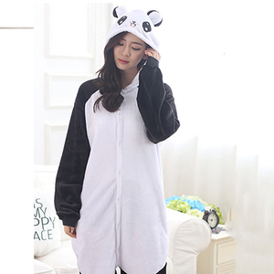 Image 1 - Adult Panda Cartoon Kigurumi Cosplay Costume Women Loose Kid Winter Animal Onesie Jumpsuit Boy Anime Flannel Pajamas Sleepwear