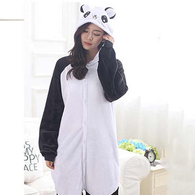 Adult Panda Cartoon Kigurumi Cosplay Costume Women Loose Kid Winter Animal Onesie Jumpsuit Boy Anime Flannel Pajamas Sleepwear