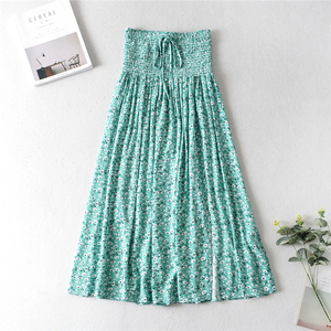 Image 2 - Vintage chic Women two piece outfits strap Sleeveless tops Bohemian Drawstring maxi skirts 2 pieces rayon cotton  Boho sets