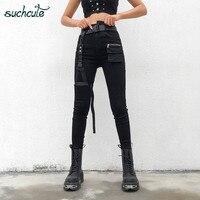 SUCHCUTE женские брюки в клетку тонкие готические брюки корейский стиль Брюки повседневные корейский Стиль Уличная Harajuku женские джоггеры
