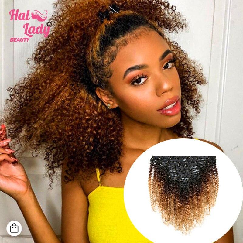 Halo Lady 8 Uds Set grueso Afro rizado Clip en doble trama extensiones de cabello postizo 1b/4/27 1b/99j Ombre pelo Remy brasileño