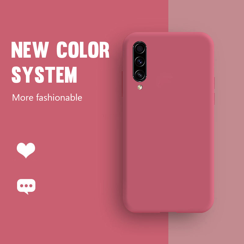 For Samsung Galaxy A51 A70 A71 A50 A40 A30 A20 A10 Case Solid Color Silicone Case For S20 S7 S8 S9 S10 Plus s10e Note 9 8 10(China)
