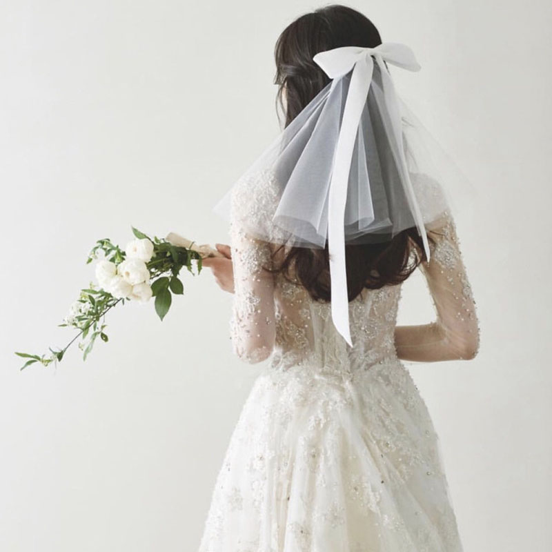 SLBRIDAL Shoulder Length Bowkot Style Wedding Veils With Comb White Bridal Veils Wedding Accessories For Bride Mariage Women
