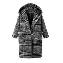 купить Plus Size Autumn  Winter Women  Lattice Coat  Loose Casual Warm Thickening Woolen Single-breasted Cloth Overcoat по цене 3244.19 рублей