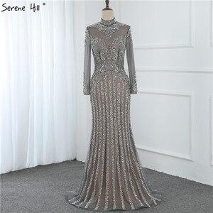 Image 4 - מוסלמי אפור יוקרה ארוך שרוולים ערב שמלות 2019 בת ים יהלומי פאייטים הנוצצת ערב שמלת Serene היל DLA70199