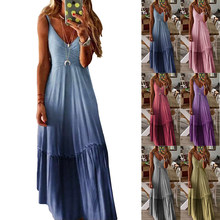 Summer Spring Women Ladies Long Loose Gradient Sling Dress V-Neck Fashionable One Piece Sleeveless Beach Wear kobieta sukienka