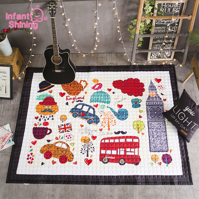 Infant Shining Baby Mat Cotton Play Mat 2.5CM Soft Thicken Foldable Cartoon Machine Washable  Home Game Carpet Infants Kids Rugs