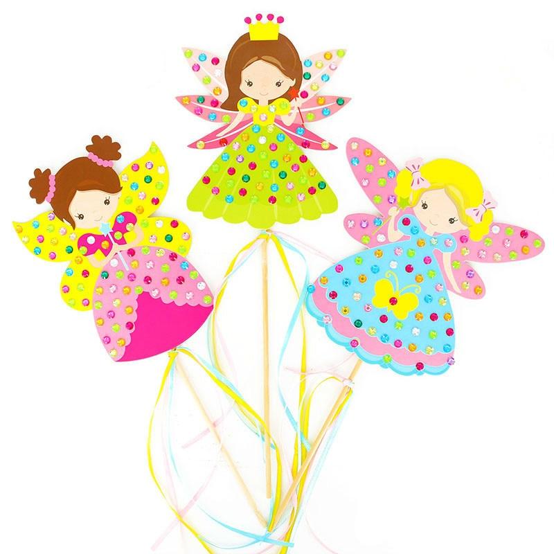 Children DIY Fairy Stick Handmade Princess Magic Stick Toy Handmade Materials Package Sticker Girl Gift DIY Craft Toys 2019 NEW