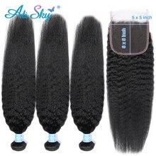 Alisky, перуанские кудрявые прямые пряди, 5*5, человеческие волосы Remy для наращивания, волосы, 3 пряди, волосы с застежкой