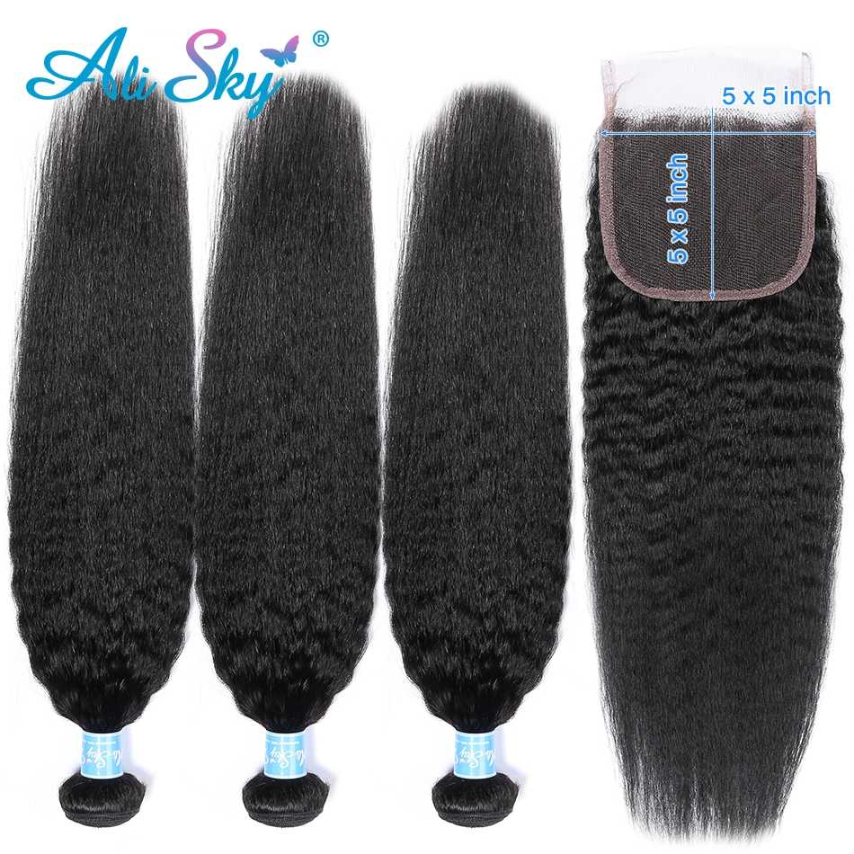 Alisky Peruvian Kinky Straight Bundles With 5*5 Closure Remy Human Hair Extension 100% Hair Weave 3 Bundles Hair With Closure