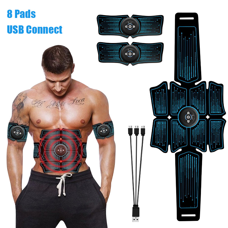EMS Abs Abdominal Muscle Stimulator Trainer USB Connect Fitness Equipment Training Gear Muscles Electrostimulator Toner Exercise