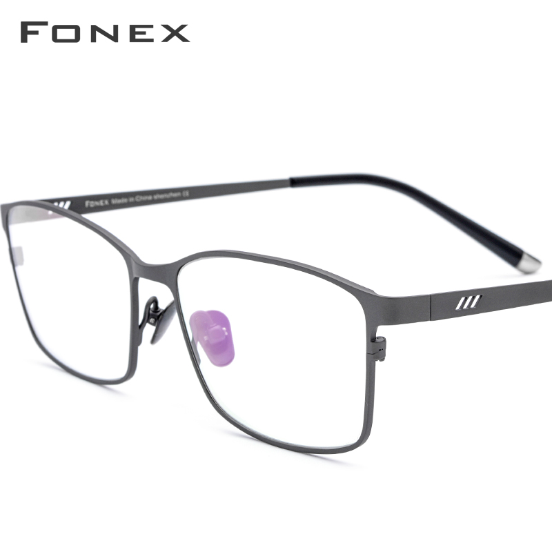 FONEX Pure Titanium Glasses 2019 New Male Square Eyeglasses Frame Men Full Rim Optical Prescription Eyewear Eye Glasses 8505