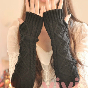 1 Pair Autumn Winter Women Knit Gloves Arm Wrist Sleeve Hand Warmer Girls Rhombus Long Half Winter Mittens Fingerless Gloves