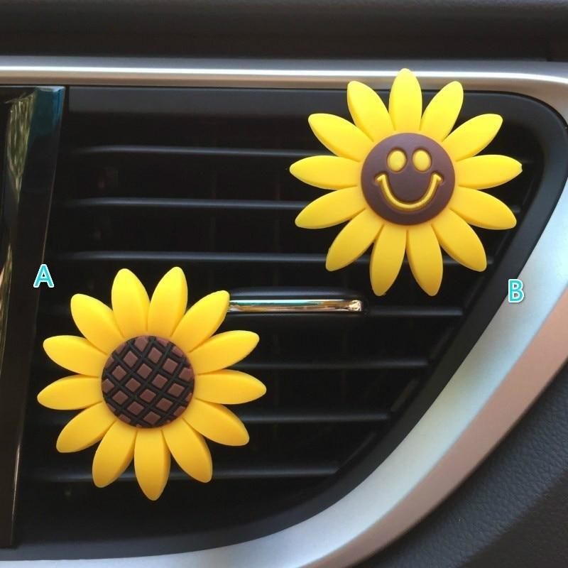 Car Air Freshener Cute Sunflower Perfume Vent Clip Fragrance Scent Diffuser Auto Interior Decor Accessories