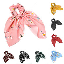 Fashion Floral Stripe Leopard Print Scrunchie DIY Knotted Bow Hair Rope Rubber Bands For Women Girls Hair Accessories Headwear(China)