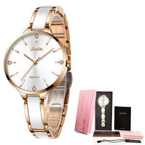 Image 5 - SUNKTA 2019 Simple Thin Rhinestone Rose Gold Quartz Watch Women Fashion Ladies Watch Womens Watches Dress Wristwatch For Women