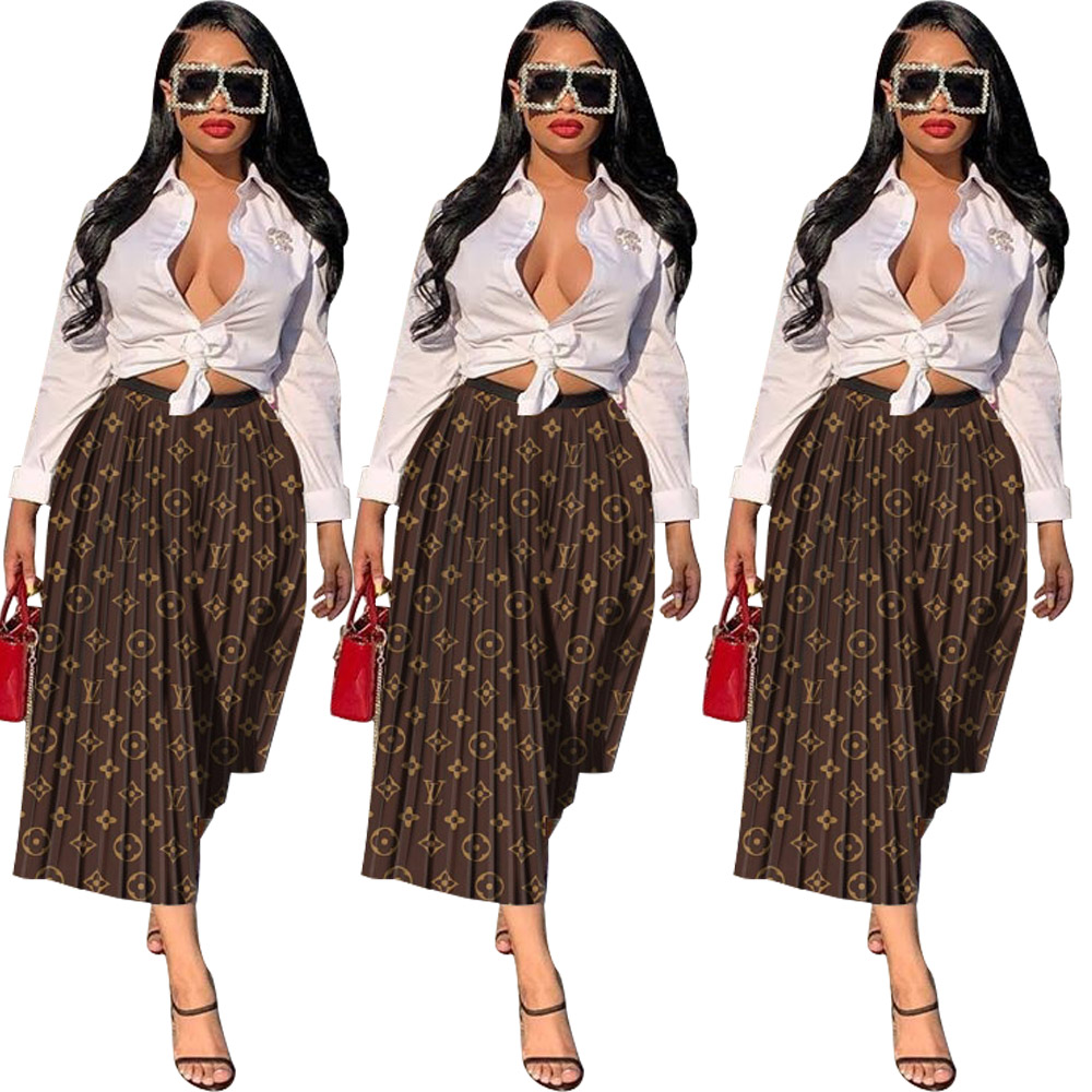 Skirts Letter Waits Elastic Printed Loose Streetwear Office Mid-Calf High-Waist Women