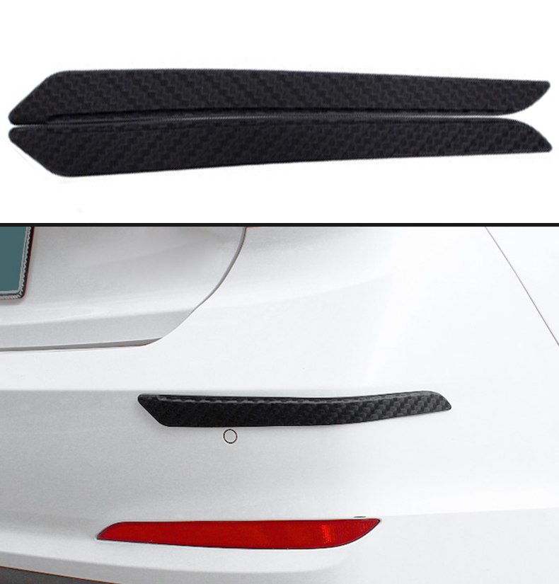 39.9 X 4.7CM 2/4pcs Bumper Protector Guard Strip Universal Rubber Auto Front Rear Bumper Protector Scratch Sticker Car Styling image