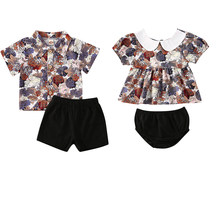 Sister Brother Infant Baby Girls Boys Clothes Sets Flowers Print Short Sleeve T Shirts Tops+Shorts 2pcs(China)