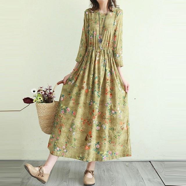 Women Cotton Linen Casual Dress New Arrival 2021 Summer Vintage Style Floral Print Ladies Elegant A-line Long Dresses T001 2