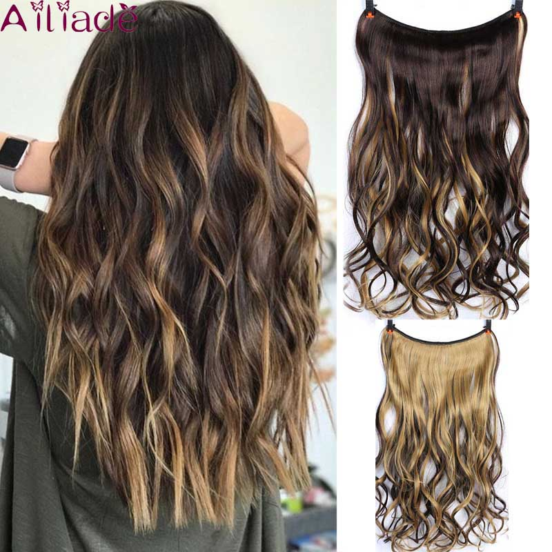 AILIADE Dark Brown Light Brown Two-tone Natural Curly Hair Extensions Invisible Fish Line No Clips In Hair Extensions Hairpiece