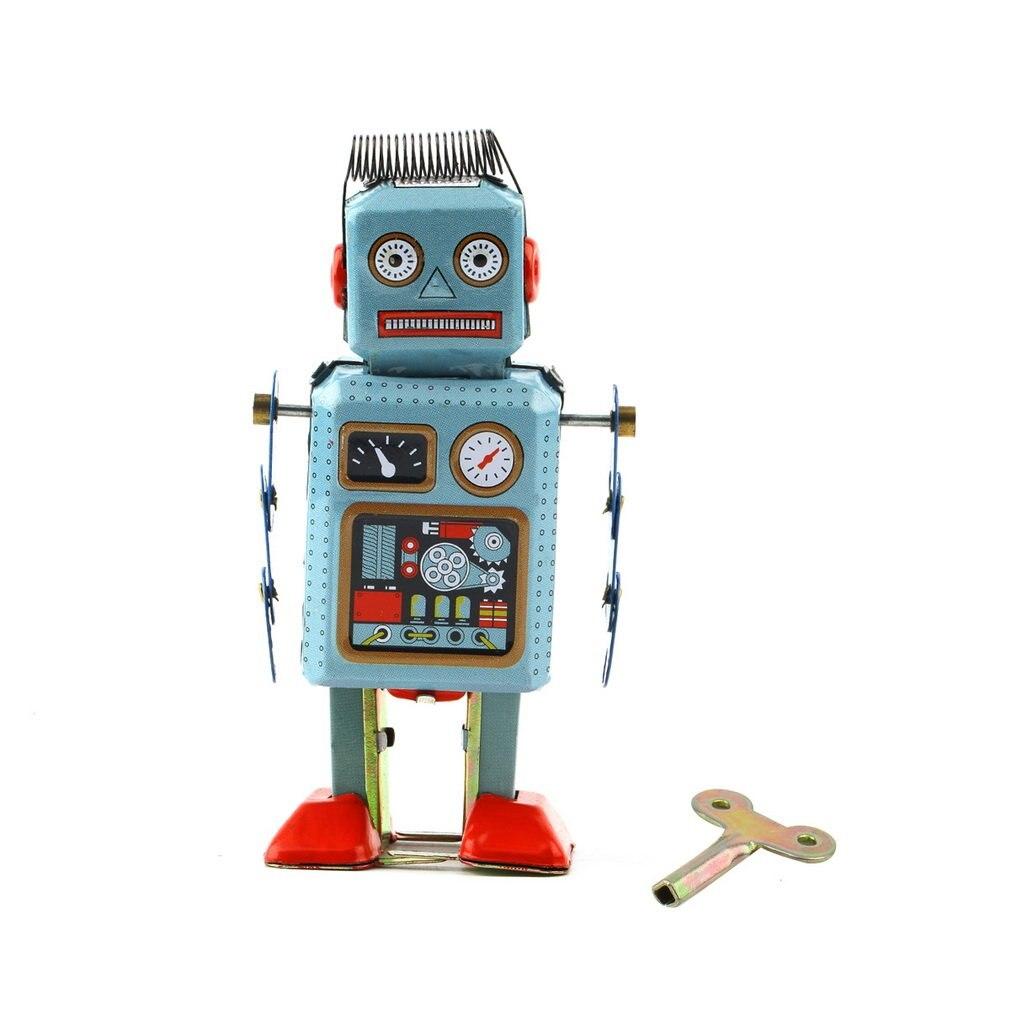 Hot! 3pc Vintage Mechanical Clockwork Wind Up Metal Walking Robot Tin Toy Kids Gift New Sale