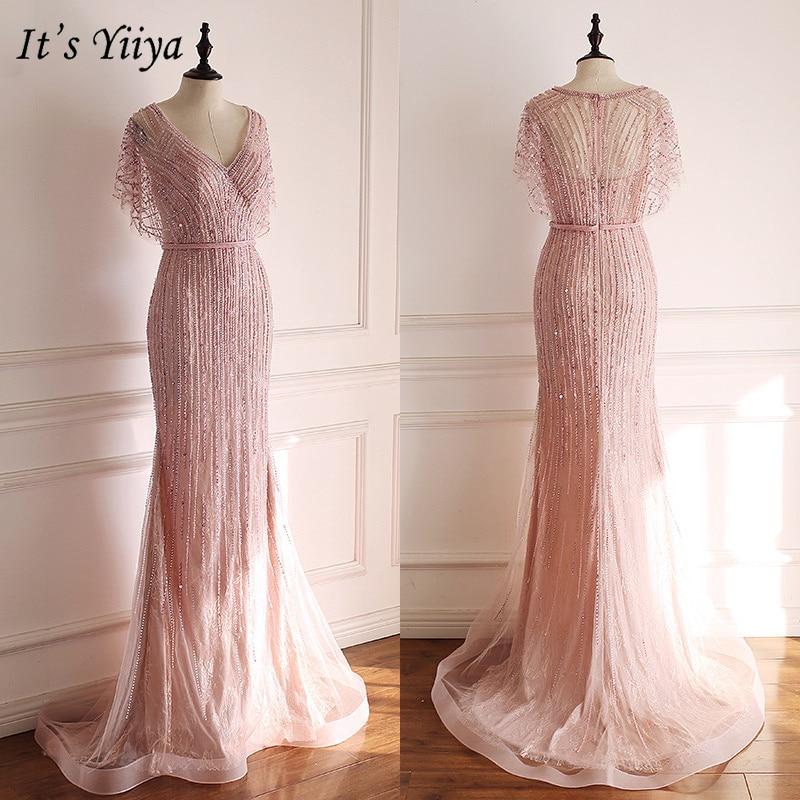 It's Yiiya Evening Dress 2019 Short Sleeve V-Neck Crystal Trumpet Formal Dresses Elegant Lace Train Party Robe De Soiree E933