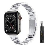 Frauen Metall Armband für Apple Uhr SE 40mm 44mm Band Serie 6/5/4/3/2/1 Schlank Edelstahl Handgelenk Gurt für iWatch SE 6 Bands