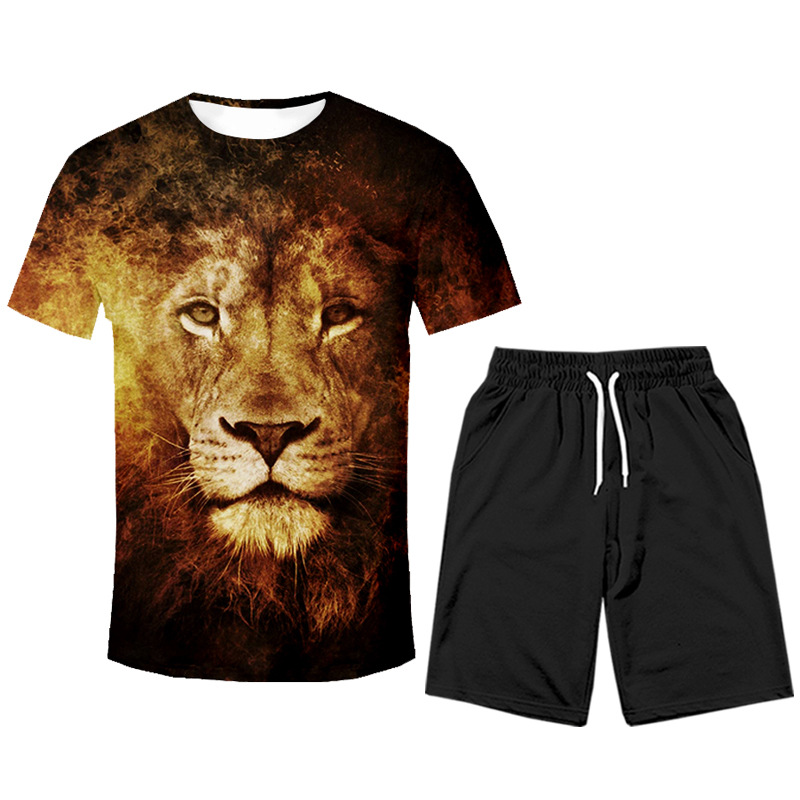 2019 New Hot Selling Hip Hop Lion Pullover Short Sleeve T-shirt Suit Popular Brand Men'S Wear
