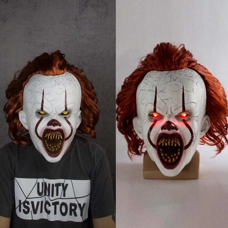 Pennywise Clown Mask Stephen King's It Latex LED Mask Horror Halloween Cosplay Props
