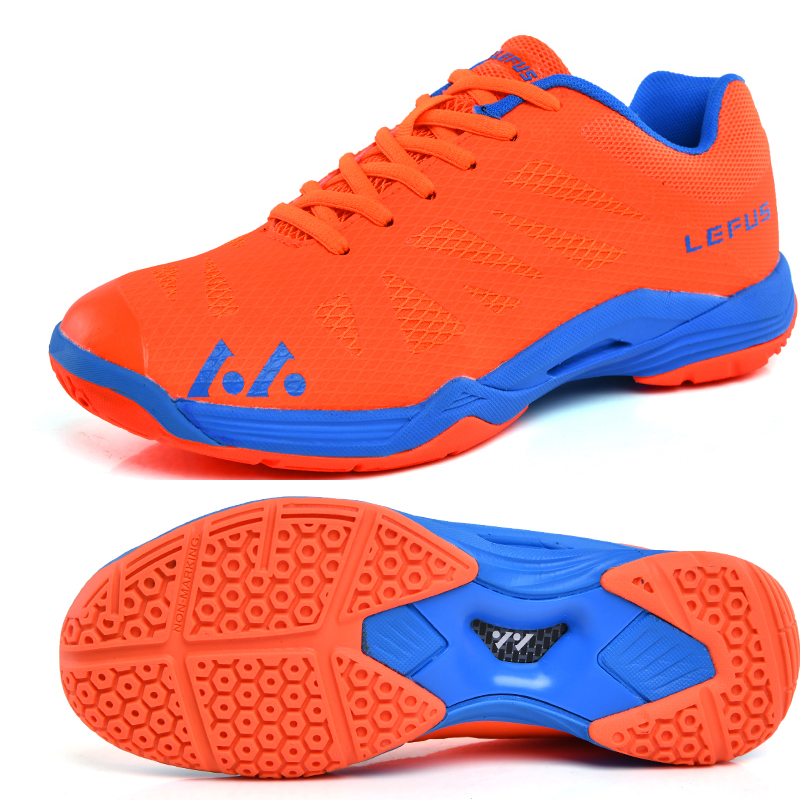 US $22.87 45% OFF|Volleyball Shoes Men Women Breathable Badminton Sneakers Orange Blue Training Volleyball Sneaker Men Lightweight Tennis Shoes on