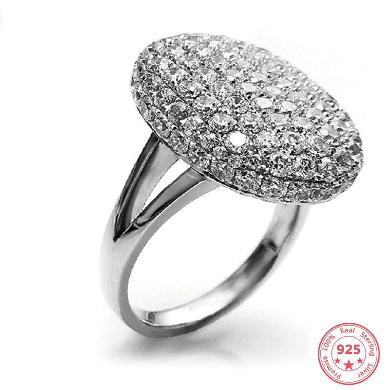 925 Sterling Sliver Full 2 Carats Diamond Ring For Women Anillos Wedding Bizuteria White Topaz 925 Silver Gemstone Jewelry Ring