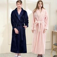 Albornoz de talla grande franela larga para mujer, Kimono rosa, bata de baño abrigado, bata de dama de honor Sexy, bata de hombre, ropa de dormir de noche