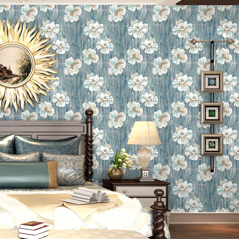 The New American-Style Retro Background Wallpaper Bedroom Living Room Northern European-Style Non-woven Wallpaper Top Grade Hote