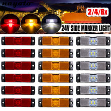 2/4/6pcs 24V 4 LED Side Marker Lights Car External Lights Rectangle Warning Tail Light Signal Lamps Auto Trailer Truck Lorry Van