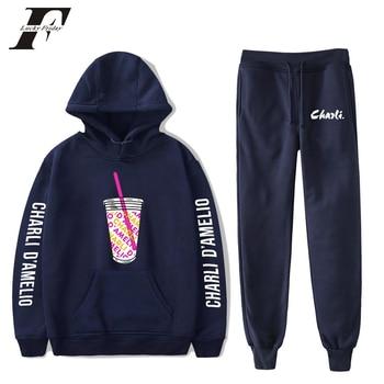 New Charli D'amelio Two Piece Set Women/Men Fashion Hoodies and Pants Boys Girls Charli Damelio Merch Sweatshirt Suit Sportwear 4