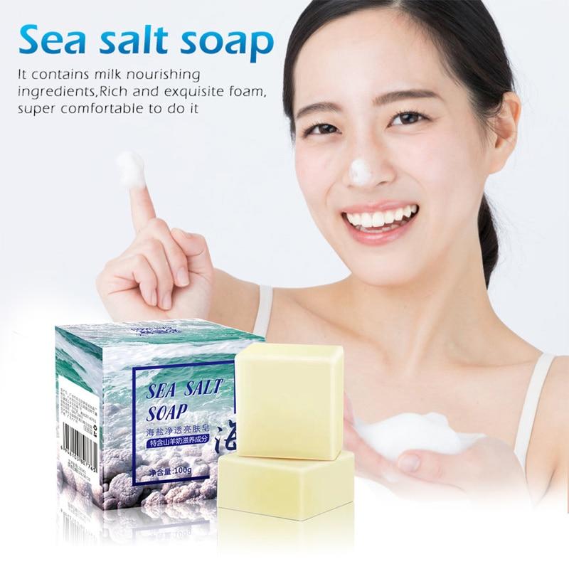 100g Sea Salt Soap Cleaner Pores Acne Treatment Goat Milk Moisturizing Removal Pimple Face Care Wash Basis Whitening Soap TSLM1