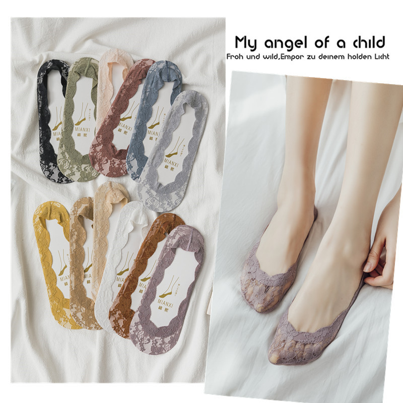 Women Summer Sock Slippers 2020 New Fashion Lace Socks Women High Quality Invisible Slipper Socks Candy Color Style Socks Female
