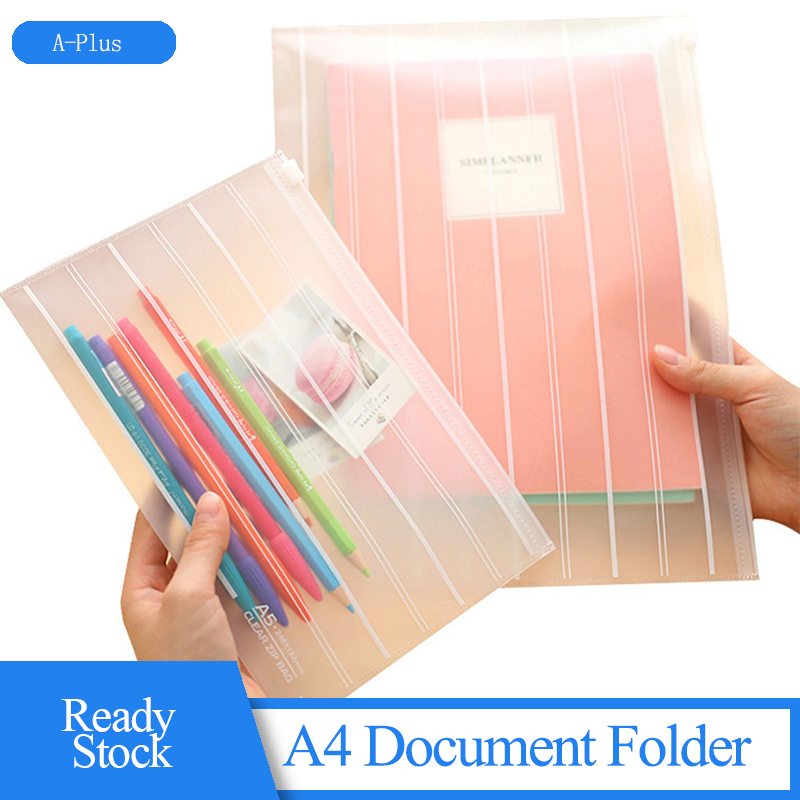 A4 Document Folder Folder Poly Filing Envelope Plastic Envelopes Eco-friendly Transparent Frosted Filing Bag For Student