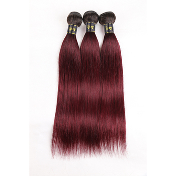 Brazilian Human Hair Weave Bundles Ombre Straight 99J Maroon Red 8-26 inch Extension Non-Remy IJOY - discount item  51% OFF Beauty Supply