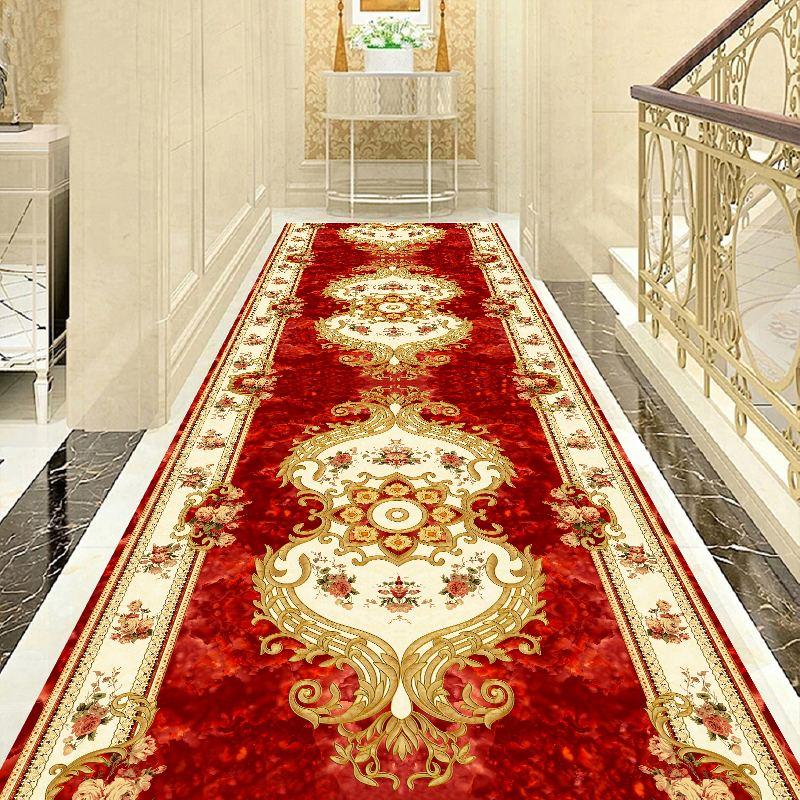 European Style Hallway Carpets Hotel Long Aisle Corridor Rug Home Decorative Entrance Anti-Slip Stair Carpet Wedding Party Floor Rugs Aisle Red Carpet Customize