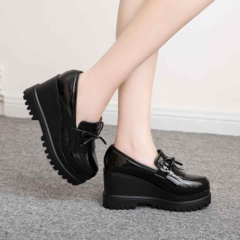 Musim Semi Platform Datar Sepatu Wanita Oxfords Shoes Dangkal Kasual Solid Tinggi Meningkatkan Shoe Wanita Creepers