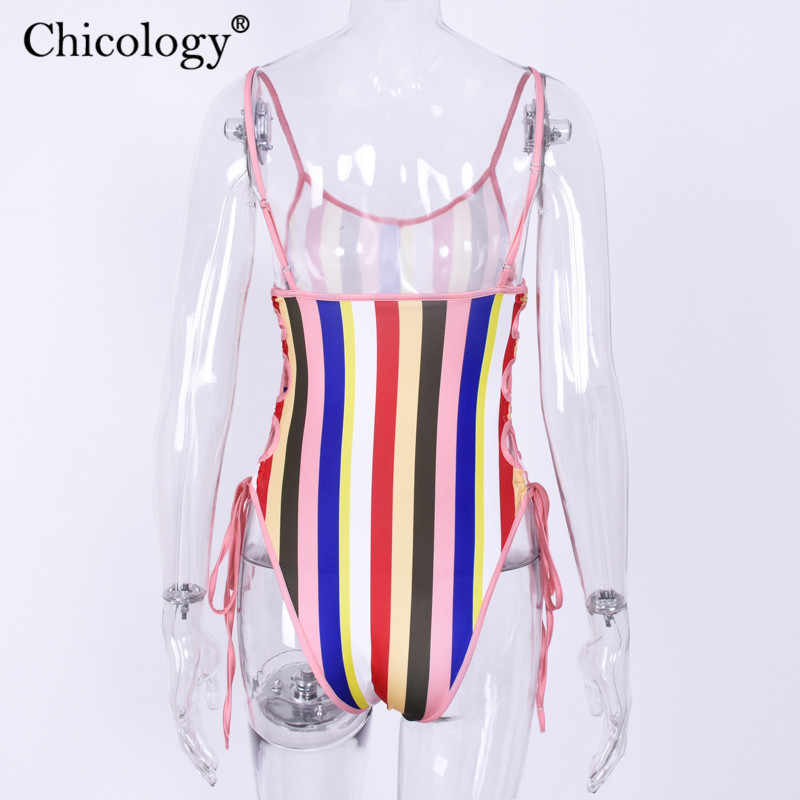 Chicology streifen neon lace up body frauen sleeveless körper anzug 2019 herbst winter kleidung streetwear sexy party club bademode