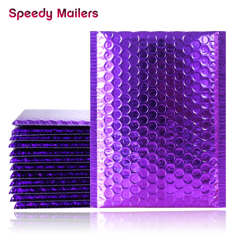 Speedy Mailers 10PCS Purple Poly Bubble Mailers Aluminum Foil Bags Padded Envelopes Self Seal Bubble Envelope Shipping Mailer