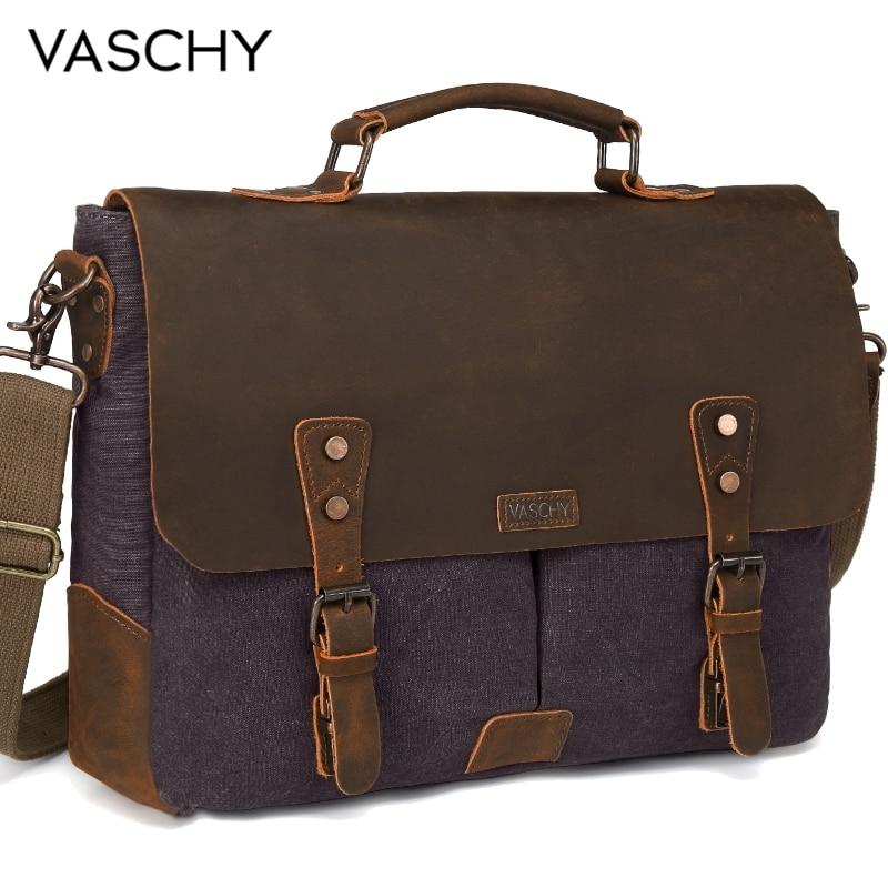 VASCHY  Messenger Bag Men Leather Genuine Leather Canvas 15.6inch Laptop Briefcase Crossbody Satchel Bag For Men