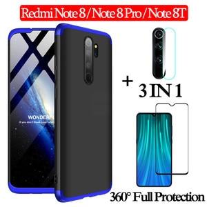 3-в-1 cтекло + 360 Защитный чехол-редми-ноут-8-про чехол Redmi-Note-8-Pro 8T полная защита чехол Redmi Note 8 Пластик жесткий чехол редми нот 8 про задняя крышка ...